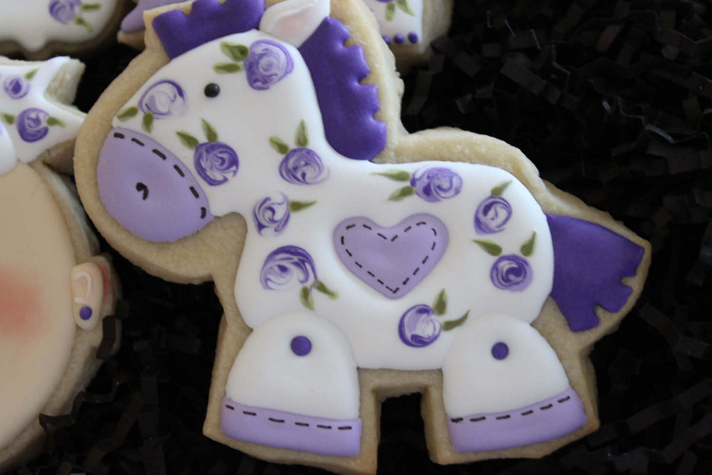 Lilac Baby Shower Cookies-Little Girl With Sunglasses, Horse, Rattle, Stroller, Outfit, TheIcedSugarCookie.com 4 The Love Of Cookies