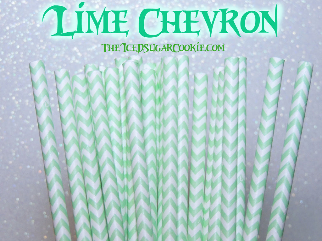 Lime Green Chevron Birthday Party Straws TheIcedSugarCookie.com Lime Green Birthday Party Straws