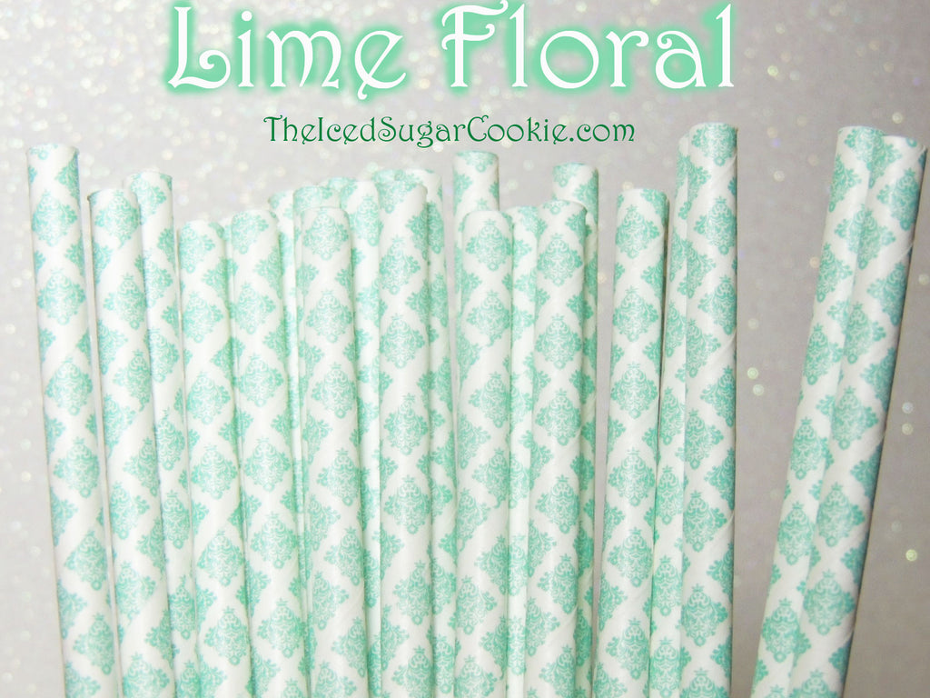 Lime Green Floral Paper Straws Lime Green Paper Drinking Straws Lime Green Birthday Party Straws-TheIcedSugarCookie.com