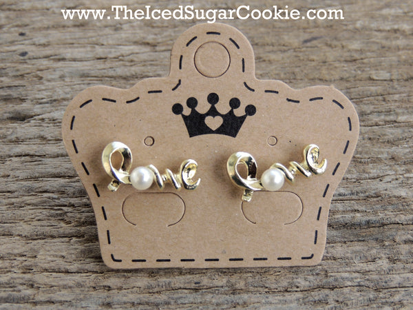 Gold Love Pearl Earrings The Iced Sugar Cookie Jewelry girls Women