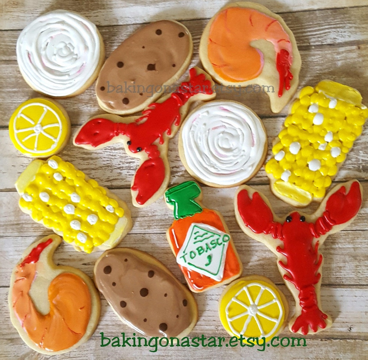 "Low Country Crawfish Boil Iced Sugar Cookies created by ""Baking On A Star"" featured on TheIcedSugarCookie.com #cookies #sugarcookies #decoratedcookies #crawfishcookies #crawfish #crawfishboil #lowcountryboil #theicedsugarcookie"