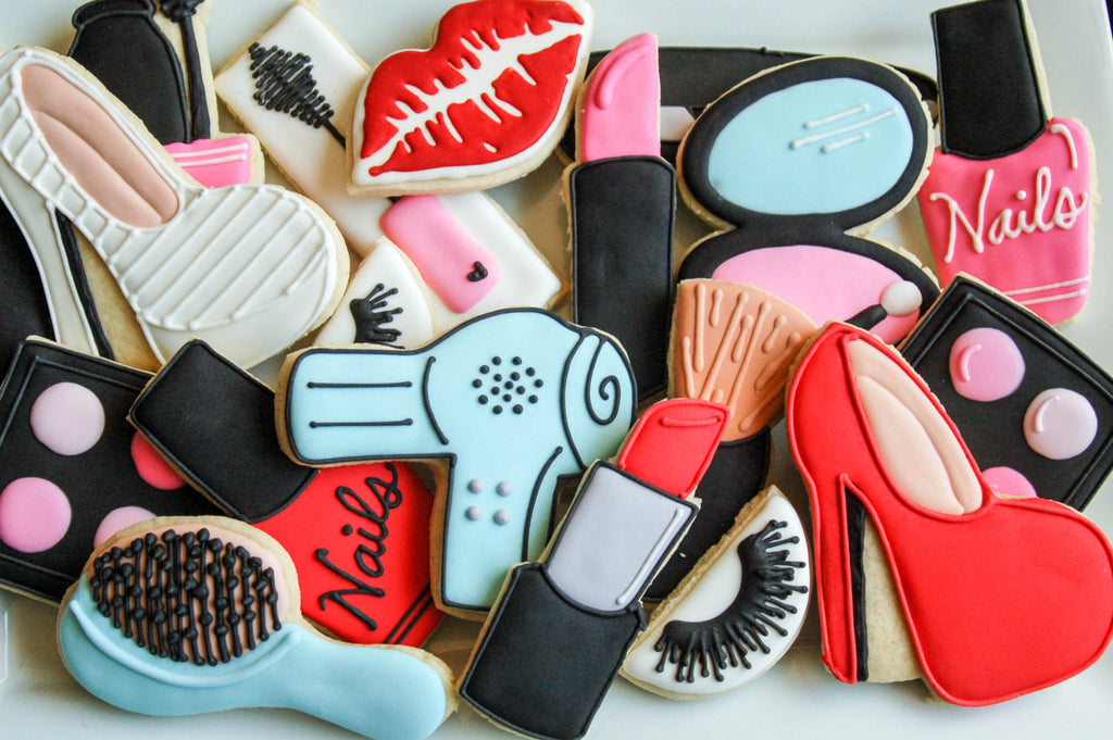 Makeup Birthday Party Sugar Cookies TheIcedSugarCookie.com Sugar Cookies By Britt