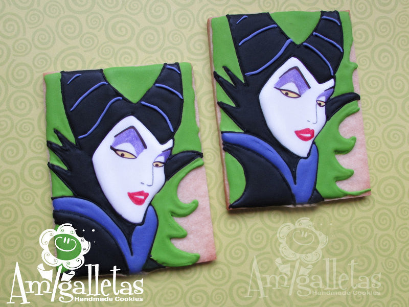 Maleficent Birthday Party Sugar Cookies TheIcedSugarCookie.com Amigalletas