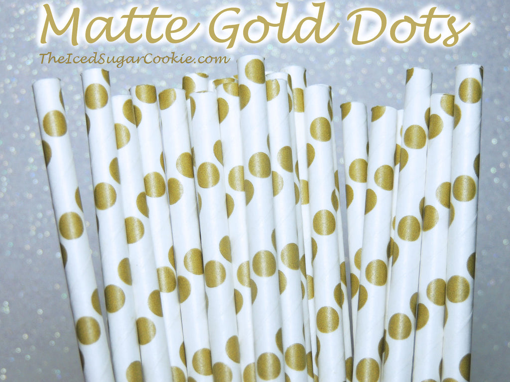 Matte Gold Dots Birthday Party Straws TheIcedSugarCookie.com