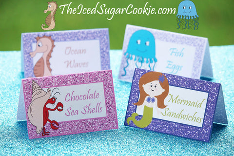 DIY Mermaid Birthday Party food label tent cards printable template cutout under the sea seahorse hermit crab mermaid jellyfish seahorse
