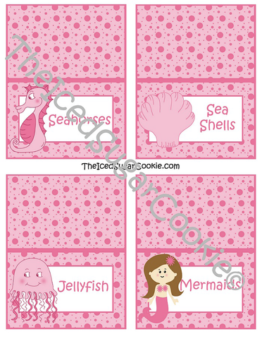 "Pink Mermaid ""Under The Sea"" Birthday Party Food Label Tent Cards-Printable Template for a DIY Mermaid Under The Sea Birthday Party by The Iced Sugar Cookie-Jellyfish, Seahorse, Mermaid, Sea Shells"
