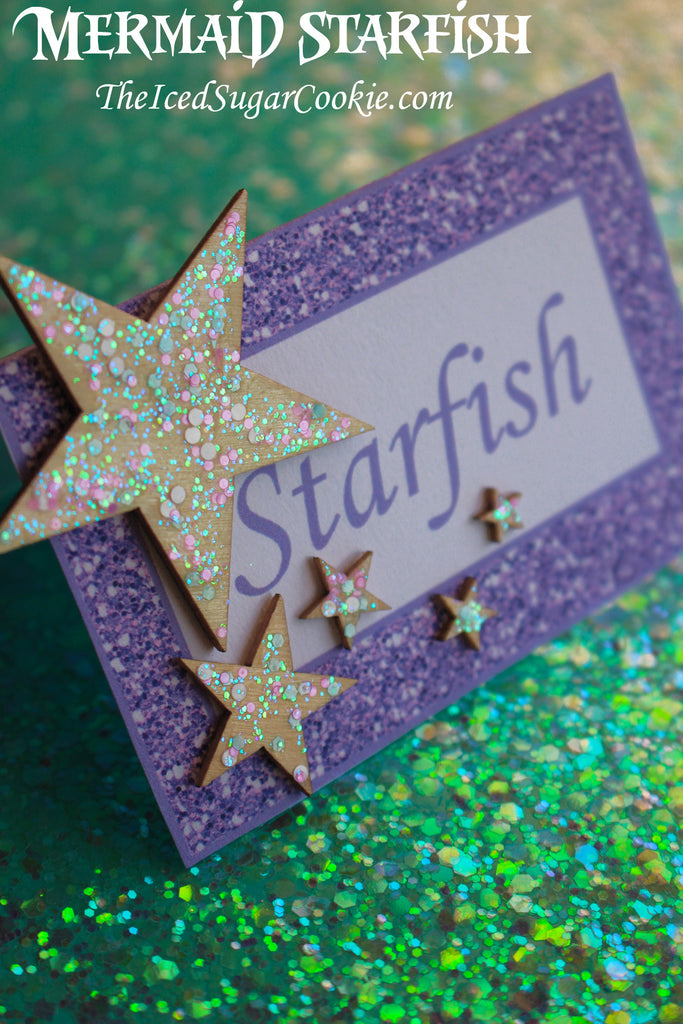 Mermaid Starfish Food Tent Cards-DIY Craft using wooden stars that has glitter on it. TheIcedSugarCookie.com