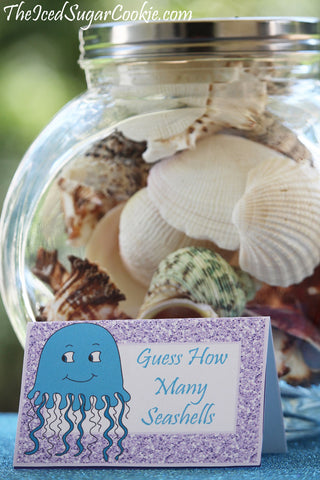 Purple Glitter Mermaid Birthday Party Printables Food Label Tent Cards- Game Guess How Many Seashells In The Jar