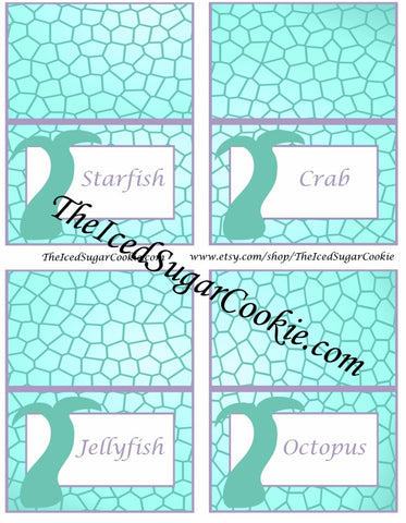 DIY Printable Purple And Aqua Mermaid Birthday Party Food Label Tent Cards Printable Templates Digital Download by The Iced Sugar Cookie-Mermaid Candy, Mermaid Food Party Ideas, Mermaid Cookies, Mermaid Tails, Mermaid Juice Starfish, Crab, Jellyfish, Octopus