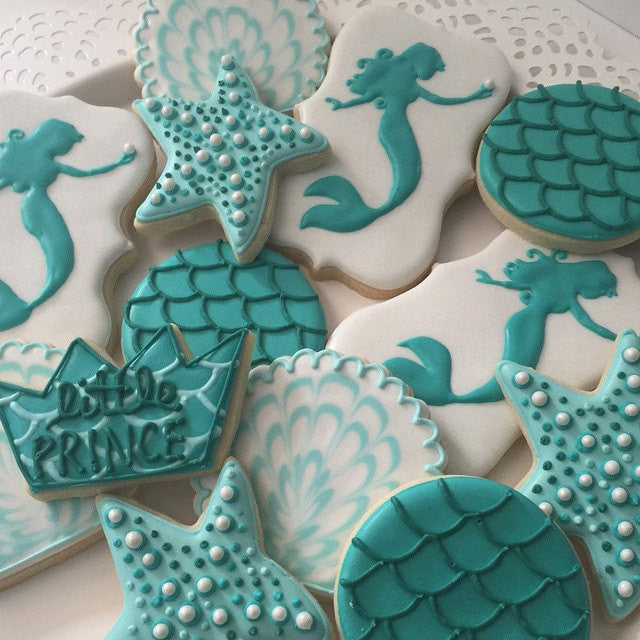 Mermaids, Seahorses And Starfish Birthday Party Sugar Cookies TheIcedSugarCookie.com Little Prince Cookies