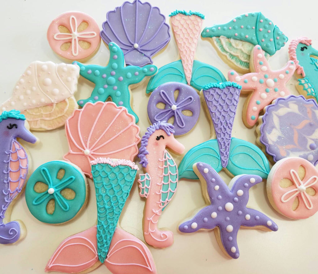 Under The Sea Birthday Party Cookies Sand Dollar Mermaid Tails Conch The Iced Sugar Cookie