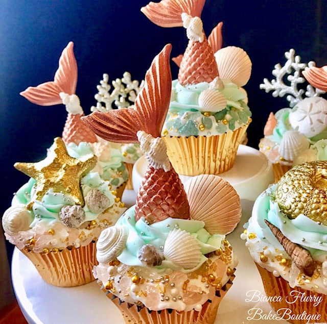 Elegant Rose Gold Fondant Mermaid Tails Seashells And Sand Dollar