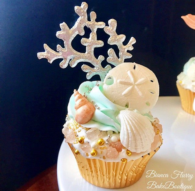 Elegant Rose Gold Fondant Mermaid Tails, Seashells And Sand Dollar Cupcakes TheIcedSugarCookie.com Bianca Flurry Bake Boutique