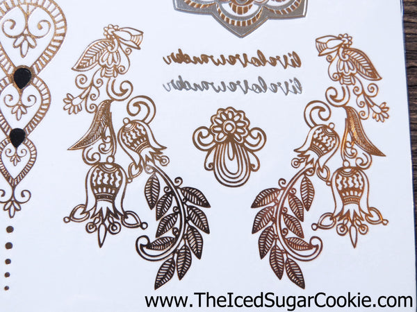 Flash Tattoo Stickers Metallic Temporary Silver Gold Girls Women Beach Boho Chic Hipster Hippy Bohemian The Iced Sugar Cookie