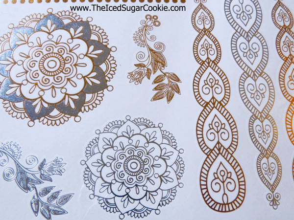 Metallic Flash Tattoo Stickers Temporary The Iced Sugar Cookie Boho Bohemian Silver Gold