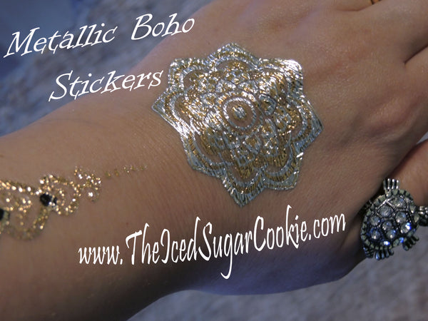 Metallic Boho Bohemian Temporary Tattoo Stickers By The Iced Sugar Cookie- Silver Gold Designs