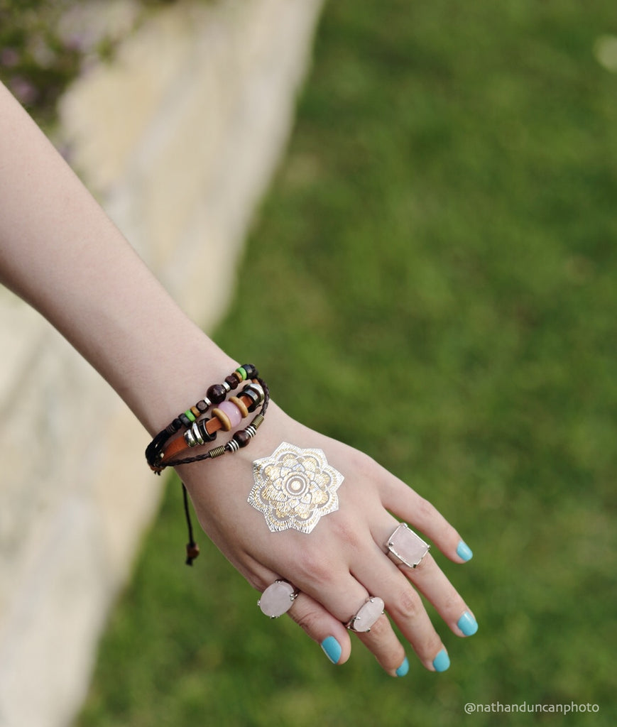 Metallic Flash Temporary Tattoo Sticker Gold Boho Midi Rings Bohemian Bracelets Nathan Duncan Photo The Iced Sugar Cookie
