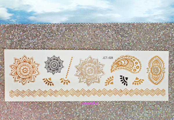 Metallic Flash Temporary Tattoo Sticker Gold Boho Bohemian Lacquered Lori The Iced Sugar Cookie