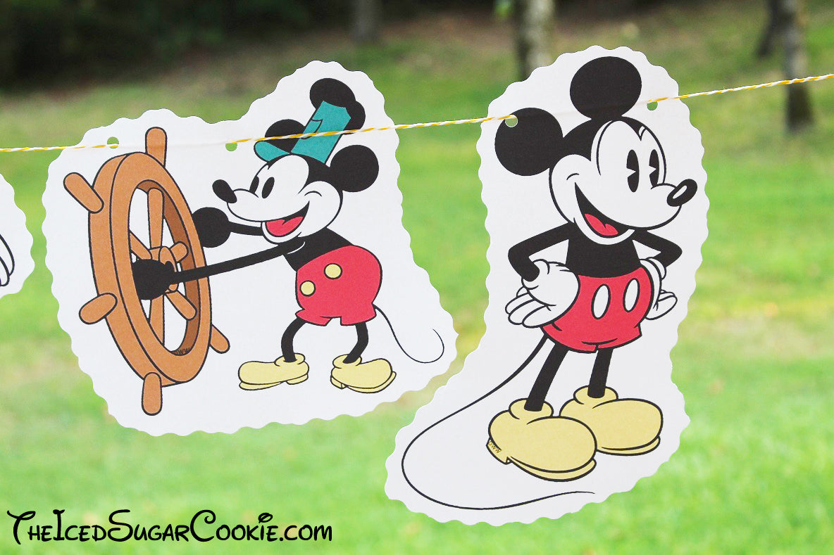 Steamboat Willie Mickey Mouse Classic Mickey Mouse Birthday Party DIY Banner Ideas