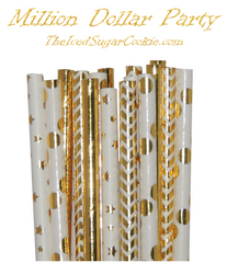Million Dollar Party Paper Straws by The Iced Sugar Cookie- DIY Birthday Party Ideas Printables and More