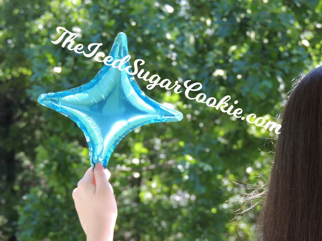 Blue Mini Diamond Star Balloons TheIcedSugarCookie.com