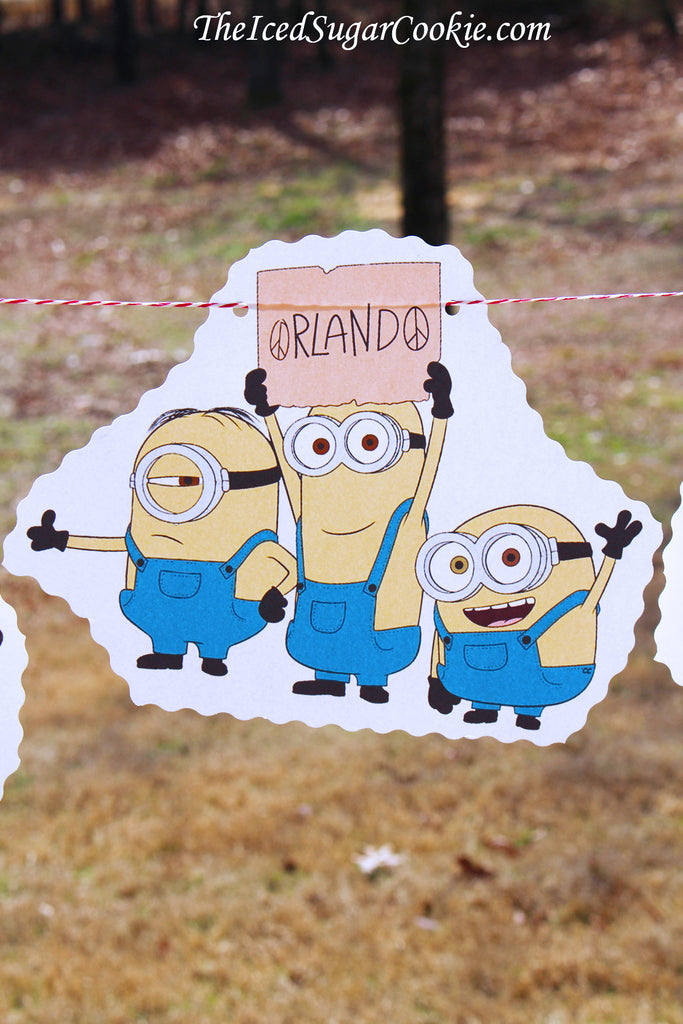 Minions Birthday Party Despicable Me Birthday Party DIY Idea Banner Flag Bunting Garland-www.TheIcedSugarCookie.com