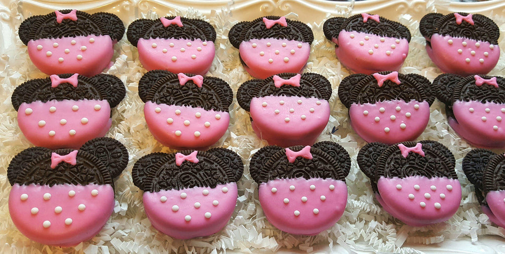 Minnie Mouse Birthday Party Oreo Cookies TheIcedSugarCookie.com Baked Lovely