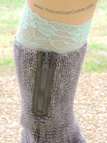 Lace Mint Green Boot Socks Cuffs The Iced Sugar Cookie