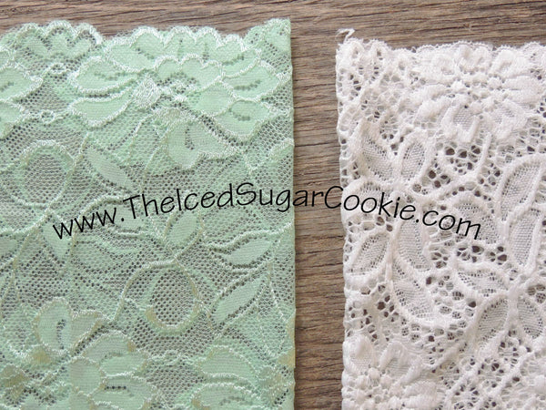 White Lace Mint Green Boot Socks Cuffs The Iced Sugar Cookie