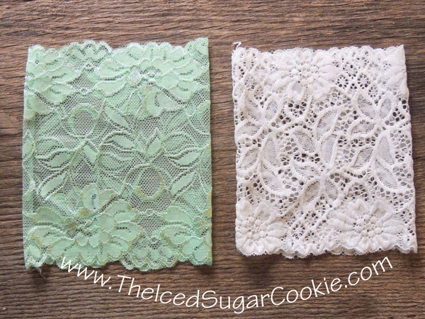 White Lace and Mint Green Boot Socks Cuffs The Iced Sugar Cookie
