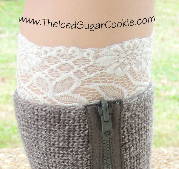 White Lace Boot Socks Cuffs The Iced Sugar Cookie