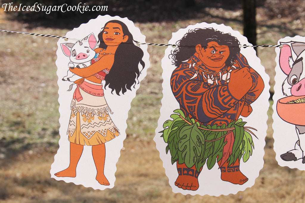 Moana Birthday Party Flag Hanging Banner DIY Idea by TheIcedSugarCookie.com