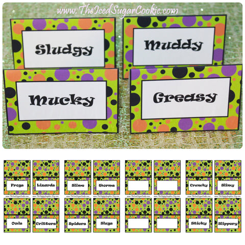 These food cards are a printable digital download for a Monster Bash birthday party, Monster Mash birthday party, Silly Monster birthday party or Fall Halloween Party. These food cards are a printable digital download for a Monster Bash birthday party, Monster Mash birthday party, Silly Monster birthday party or Fall Halloween birthday party. You will get 1 ZIP file that includes 40 JPEG food cards that you can print and cut out yourself. A downloadable link for your food cards will be available to you as soon as you pay.  ***We have also included 2 FREE cupcake topper templates that match.**** These food cards were created on an 8.5x11 sheet and has 4 food cards per page. Each card measures approx 3- 3/4 inch wide and 2- 1/2 inch tall after they have been folded. Here is what your cards say: Slime, Worms, Spiders, Slugs Pumpkin Guts, Bats, Flies, Bugs Hay Bales, Candy Corn, Popcorn Balls, Candy Apples Bones, Hair, Teeth, Eyes Frogs, Lizards, Owls, Critters Cupcakes, Cookies, Punch, Treats Black, Purple, Orange, Green Crunchy, Slimy, Sticky, Slippery Greasy, Muddy, Mucky, Sludgy 4 Blank Food Cards- to type or write your own words Copyright (c) 2016 The Iced Sugar Cookie. All rights reserved. For personal use only. Do not sell these or give them away for free. Graphics by https://www.etsy.com/shop/thehappygraphics