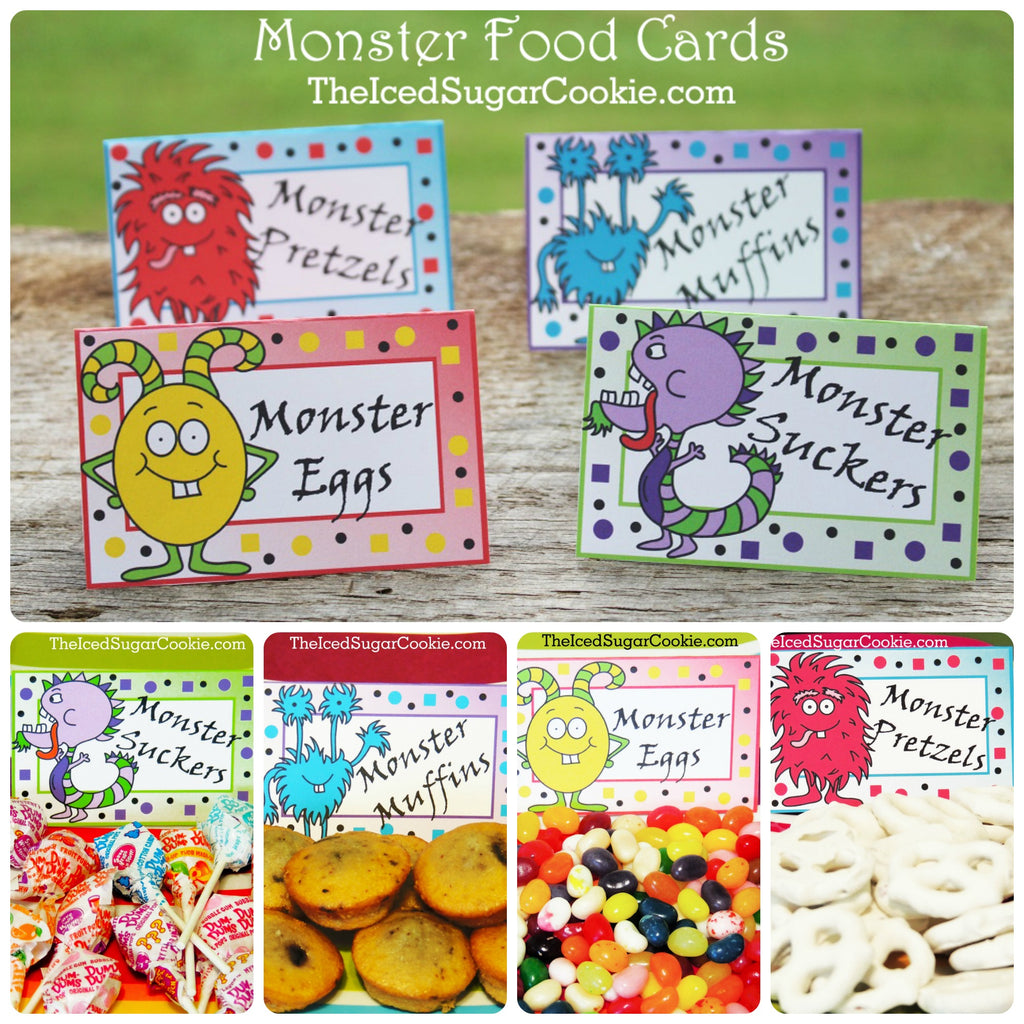 Monster Birthday Party Ideas Printables DIY Food Ideas Templates The Iced Sugar Cookie www.TheIcedSugarCookie.com Halloween Party Ideas Trick Or Treat Silly Monster Pretzels Muffins Eggs Suckers