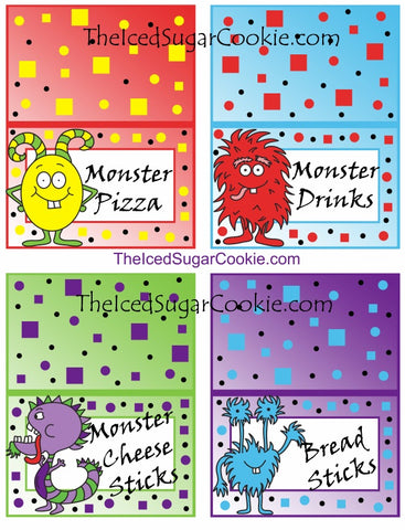 "If your throwing a Little Monster birthday party and need a fun DIY Idea then try this Monster Birthday Party Package Kit out! This is a digital download for you to PRINT and CUT. This will be available to you as soon as you pay.   You will get 32 food cards that comes as 7 JPEG templates.  These food cards were created on an 8.5x11 sheet and has 4 food cards per page. Each card measures approx 3- 3/4 inch wide and 2- 1/2 inch tall after they have been folded.  What you are getting in your ZIP file:  1. Food Tent Cards of 4- ""Monster Teeth, Monster Munch, Monster Toes, Fuzzy Food""  2. Food Tent Cards of 4- ""Monster Chips, Monster Burgers, Monster Dogs, Monster Dip""  3. Food Tent Cards of 4- "" Monster Pizza, Monster Drinks, Monster Cheese Sticks, Bread Sticks""  4. Food Tent Cards of 4- ""Monster Apples, Monster Fruits, Monster Berries, Monster Sweets""  5. Food Tent Cards of 4- ""Monster Eggs, Monster Pretzels, Monster Suckers, Monster Muffins""  6. Food Tent Cards of 4- Blank  7. Food Tent Cards of 4- Blank *********************************************************  You will get 6 cupcake toppers that was created on an 8.5 x 11 sheet. You can use a 3 inch decorative hole punch on these cupcake toppers. The cupcake toppers were created in photoshop as 3.5 inch toppers. Just print and cut them out using the hole punch and then tape a toothpick to the back of the cupcake topper and stick down in your cupcakes. It's that easy! *************************************************************  You will get 6 flag banners that comes as 2 JPEG templates.  3 flags per sheet on an 8.5 x 11. How to make these: Just print your digital download and cut them out. Then use a hole punch and punch two holes in each flag banner at the top and run some ribbon through. Then just hang it up. *******************************************************************  You will get 4 Large Monster illustrations. 4 JPEG and 4 PNG transparent background. 300dpi Red Monster- 6.737 x 10.603 inches Yellow Monster- 7.607 x 9.75 inches Blue Monster- 7.623 x 9.813 inches Dark Blue Monster- 7.607 x 9.75 inches Green & Purple Monster- 7.907 x 10.293 inches ***************************************************************   Copyright (c) 2016 The Iced Sugar Cookie and its licencors. All rights reserved. For personal use only. Do not sell these or give them away for free."