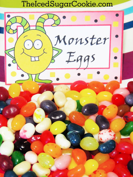 Monster Eggs-DIY Monster Bash Birthday Party Food Label Tent Cards for a DIY Little Monster Birthday Party. Printable Cutouts templates by The Iced Sugar Cookie