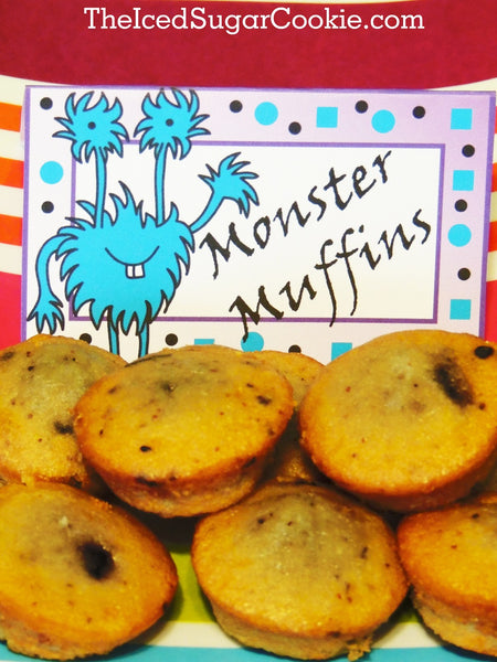 Monster Muffins-DIY Monster Bash Birthday Party Food Label Tent Cards by The Iced Sugar Cookie-Monster Printables Templates Cutouts- Little Bites Blueberry Muffins by Entenmann's.
