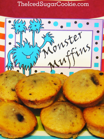Monster Muffins-DIY Food label tent cards for a little Monster bash birthday party by The Iced Sugar Cookie.