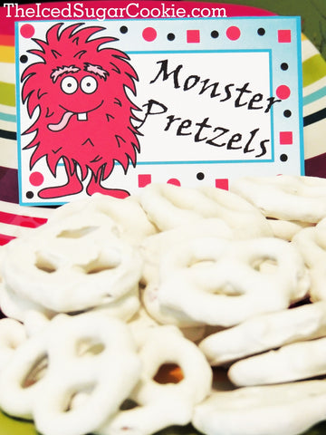Monster Pretzels-DIY Monster Food Label Tent Cards for a Little Monster Birthday Party by The Iced Sugar Cookie.