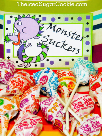Monster Suckers-DIY Birthday Party Food Label Tent Cards-