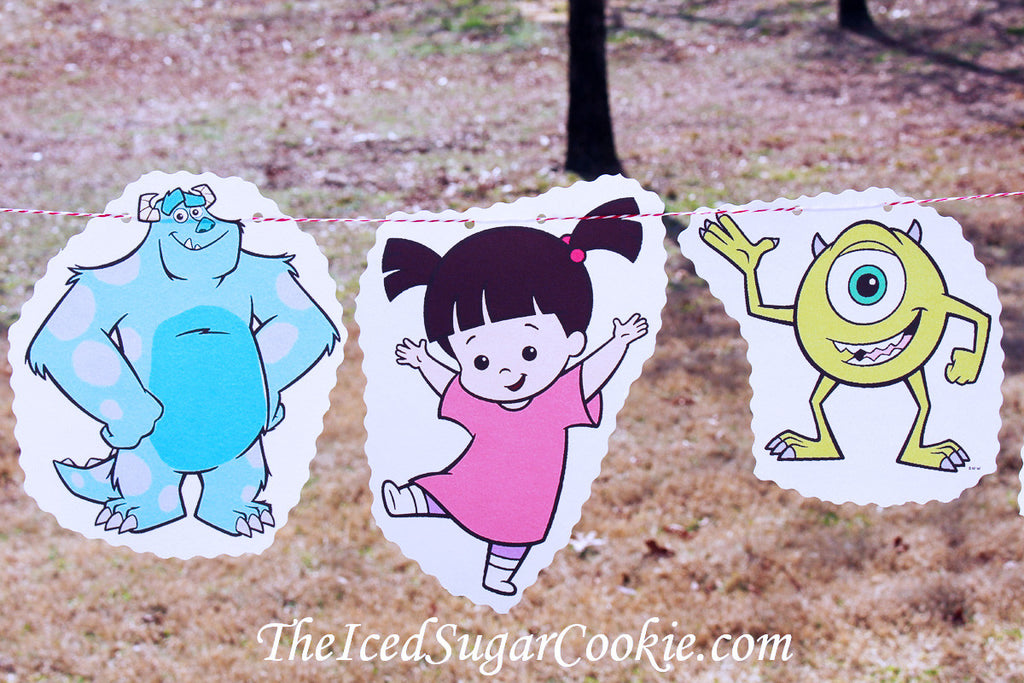 Monsters Inc Birthday Party Banner Garland DIY Idea Flag Bunting