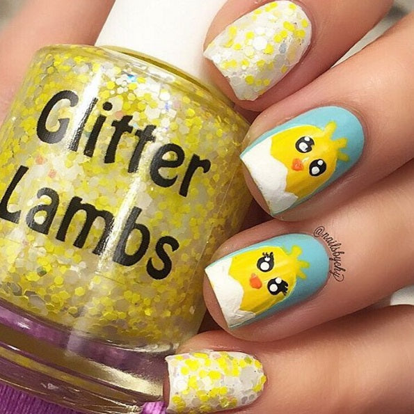 Baby Fuzzy Chicks Rule Glitter Lambs Nail Polish Spring Collection of 4 2016- Custom Handmade Indie Nail Polish Glitter Topper Nails Nail Art Nail Designs Chick Nails Pictures Yellow Glitter White The Iced Sugar Cookie