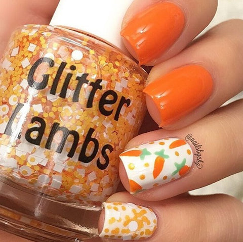 Spring Nail Polish Collection Glitter Lambs Polka Dot Jelly Beans, Sherbert Kisses, Baby Fuzzy Chicks Rule, Give Me Carrot Cake Indie Nail Polish Glitter Topper Nails Handmade Custom Bottles Nail Tips