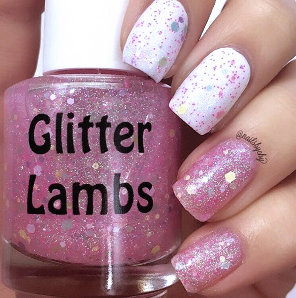 Polka Dot Jelly Beans Glitter Lambs Nail Polish. wwwTheIcedSugarCookie.com Pink Glitter Topper Indie Custom Handmade nail polishes for your nails.