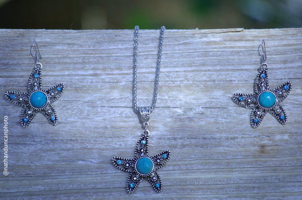 Faux Turquoise Starfish Earrings By The Iced Sugar Cookie- Fashion Jewelry