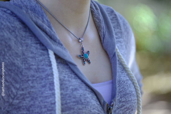 Faux Turquoise Starfish Necklace By The Iced Sugar Cookie- Fashion Jewelry