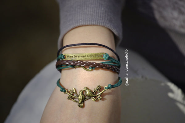 Dove Where There's A Will There's A Way Green Brown Leather Bracelet By The Iced Sugar Cookie