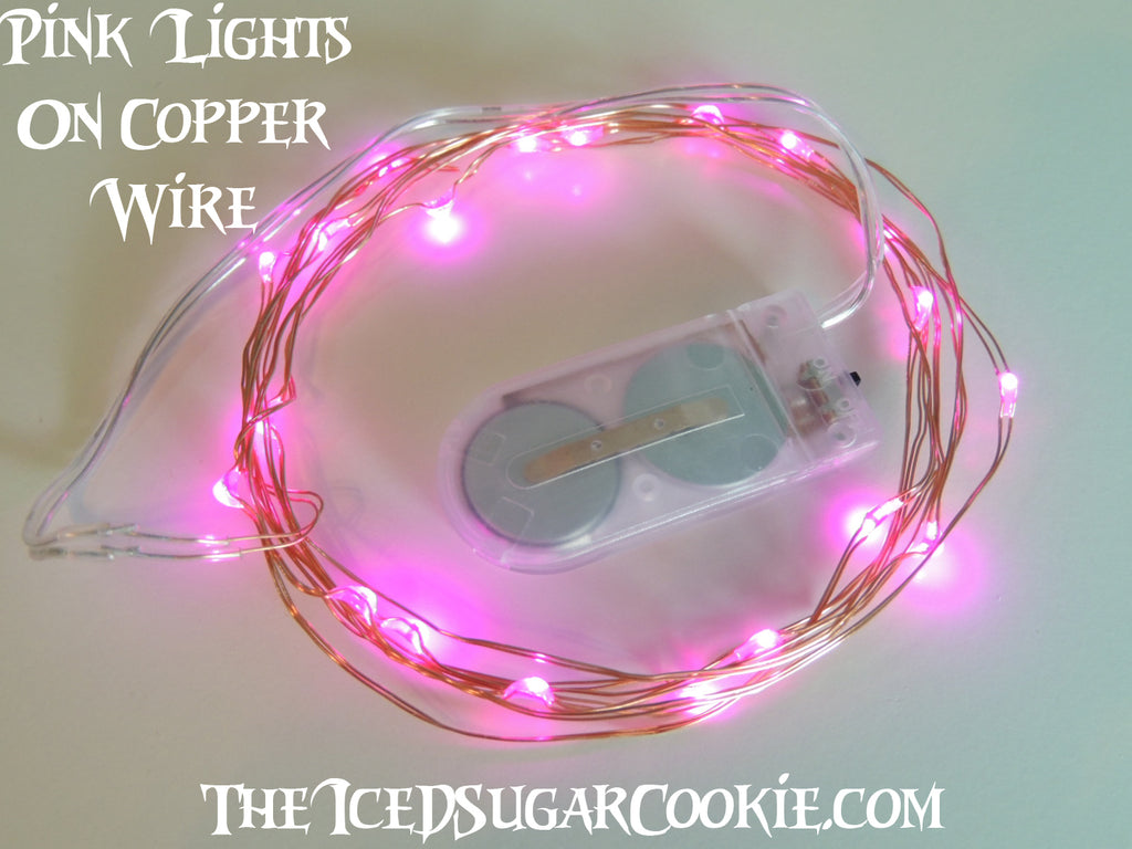 Pink Birthday Party Lights by TheIcedSugarCookie.com LED Battery Operated Lights for Birthday Parties