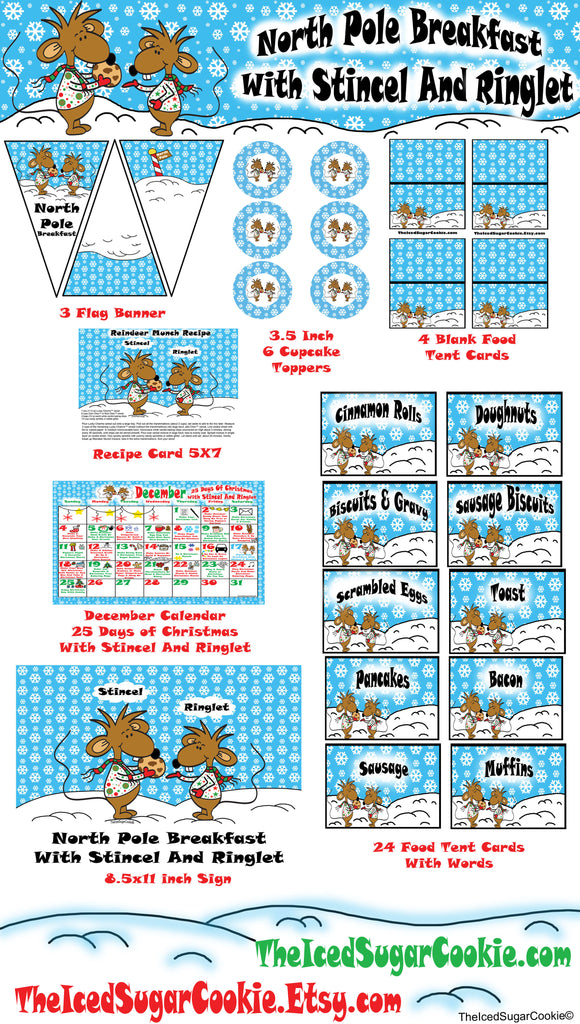North Pole Breakfast With Stincel & Ringlet-25 Days Of Christmas Calendar Activity Planner-DIY Printable Party Package Kit Idea The Iced Sugar Cookie www.TheIcedSugarCookie.com