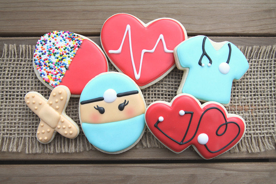 Nurse Birthday Party Sugar Cookies TheIcedSugarCookie.com Guilty Confections